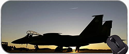 Alfombrilla de ratón extendida XXL, avión Fighter Jet USA Fuerza Aérea F-15 Mousepad de Goma Antideslizante F-15
