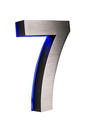 Numéro de porte 3D '7' en acier inoxydable éclairé lED ca.h18cm/180 mm (bleu 12 v), sans besoin de transformateur