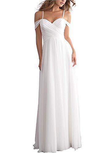 YASIOU Brautkleid Standesamt Damen Herzausschnitt Lang Weiß A Linie Chiffon Neckholder Einfach Hochzeitskleid