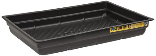 Justrite 28716 EcoPolyBlend Polyethylene Spill Tray, 38' Width x 5-1/2' Height x 26' Depth, Black