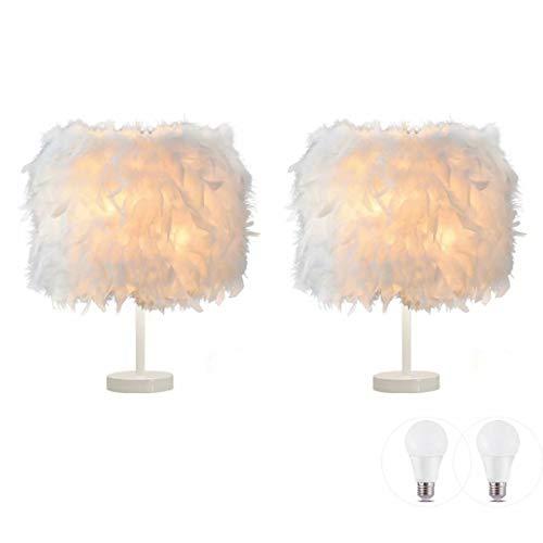 2er Pack Feder Tischlampe Nachttischlampe Feder Nachttisch Lampenschirm Tisch hellweißer Sockel mit 3W Glühbirne für Wohnzimmer, Schlafzimmer, Restaurant, Wohnkultur, S.