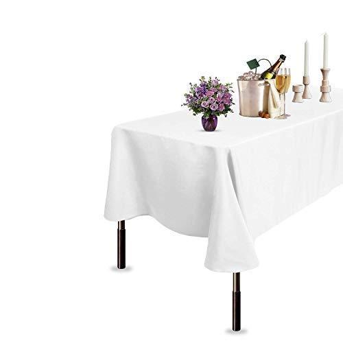 Trimming Shop Algodón Poliéster Rectangular Mantel Cubierta para Comedor & Navidad Fiesta 70 x 144 Inches (Individual) - Pack of 1, Blanco
