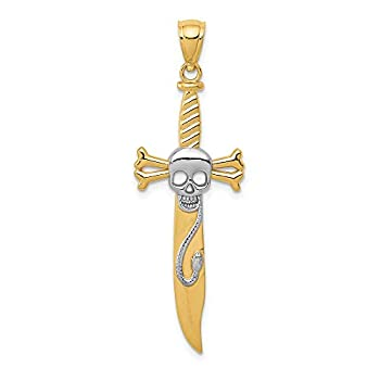 14k Yellow Gold Skull Sword Pendant Charm Necklace Dagger Dragon Fine Jewelry For Women Gifts For Her