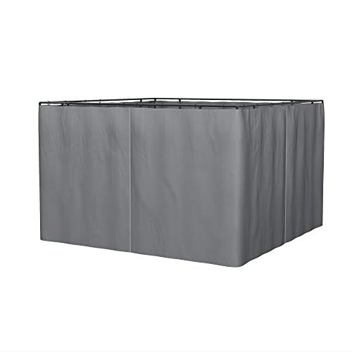 Outsunny 10' x 12' Universal Gazebo Sidewall Set with 4 Panels, Hooks/C-Rings Included for Pergolas & Cabanas, Grey