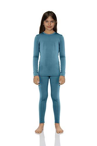ROCKY Ropa Interior térmica para niñas de algodón térmico de Punto térmico para niños, Capa Base Larga John Pijamas, Verde Azulado, X-Small