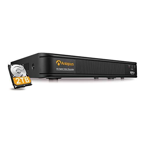 Anlapus H.265+ 1080P 8CH 2TB 4-en-1 DVR Enregistreur Vidéo Numérique Détection de Mouvement & Alerte par Email, Compatible avec Kit Caméra de Surveillance TVI/CVI/AHD/960H, App Gratuite