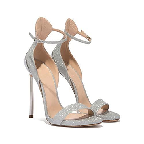 Sandalias de tacón de aguja para mujer, 12CM Sandalias sexy elegantes con...