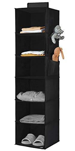YOUDENOVA Hanging Closet Organizer, 6-Shelf Cloth Hanging Storage with Side Pockets,Black