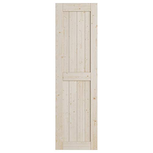 SmartStandard 24in x 84in Sliding Barn Wood Door Pre-Drilled Ready to Assemble, DIY Unfinished Solid Spruce Wood Panelled Slab, Interior Single Door Only, Natural, H-Frame (Fit 4FT Rail)