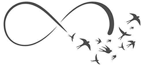 Wandtattoo Unendlichkeitszeichen mit Vögeln im Schwarm Wanddeko mit Schwalben
