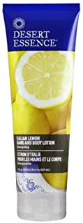 Desert Essence Italian Lemon Hand & Body Lotion - 8 Fl Ounce - Energizing - Shea Butter - Coconut & Jojoba Oil - Hydrate & Soften Skin - Refreshing - Aloe Vera
