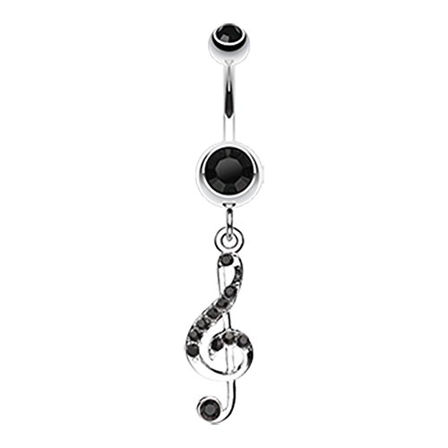 """G Clef Music Note Sparkle 316L Surgical Steel Freedom Fashion Belly Button Ring (Sold by Piece) (14GA, 3/8"""", Black)"""