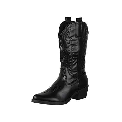 Elara Damen Cowboy Stiefel Biker Boots Chunkyrayan 301-A32 Black-38