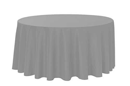 """Your Chair Covers, Round Polyester Tablecloths, 132"""", Gray"""