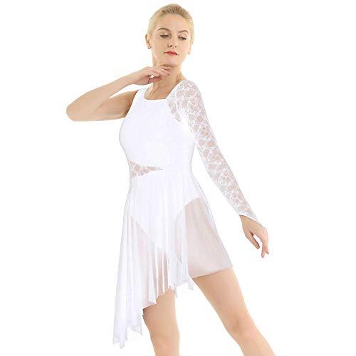 Erotische UnterwäscheFrauen Ballett Trikot Kleid Single mit Fingerspitze Spitze Mieder Lyrical Modern Dance Wear Femme Adult Asymmetric Gymnastics Kostüm-White_M