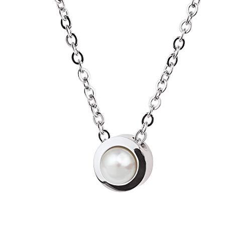 Collar Ernstes Design K789 colgante con perla de acero inoxidable cadena de ancla