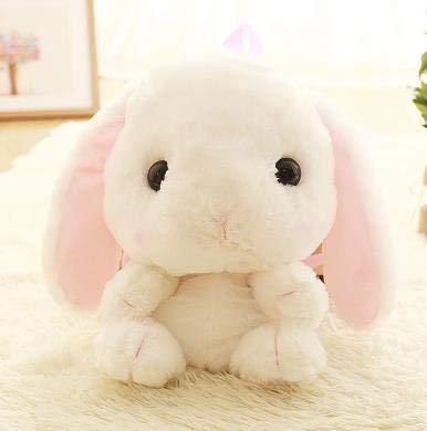 KXCAQ 50 cm Bolsas de Felpa de Conejo Encantador La Bolsa de Peluche de Conejo de Orejas Flexibles Super revolviendo es una Especie de Mochila de Felpa Corta Blanca