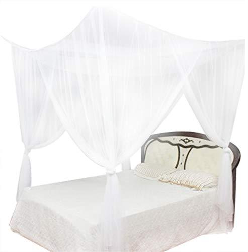 Hinzonek Filet de lit à quatre coins en maille moustiquaire pour lit king size