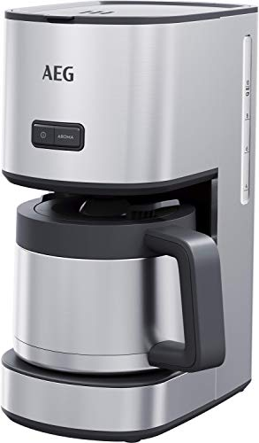 AEG CM4-1-6ST Kaffeemaschine (1,25 l Thermoskanne, 10 Tassen, Geschmack/Aroma wählbar, Anti-Tropf Ventil, entnehmbarer Filterkorb, Sicherheitsabschaltung, gebürstetes Edelstahl)