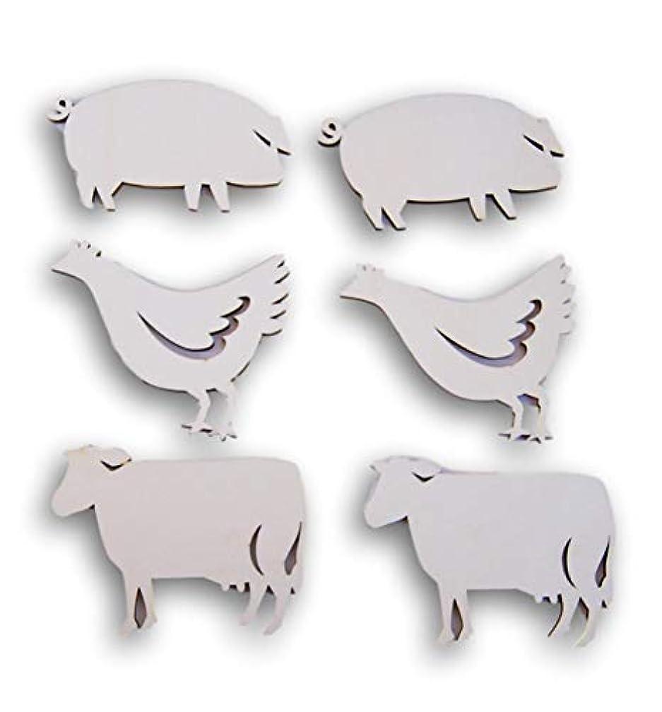 Natural Unpainted Wood Cutouts - Farmyard Animals - Set of 6