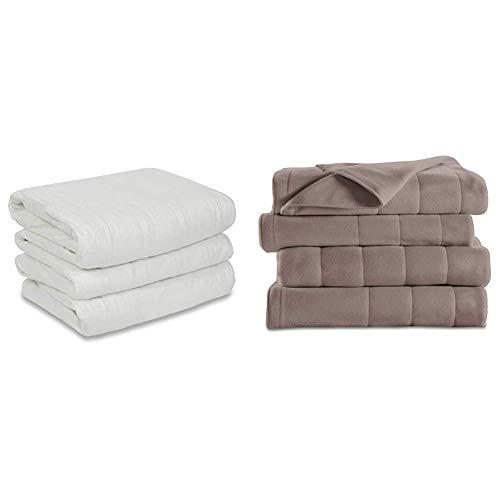 Sunbeam Heated Mattress Pad | Polyester, 10 Heat Settings , White , Queen - MSU1GQS-N000-11A00 & Heated Blanket | 10 Heat Settings, Quilted Fleece, Mushroom, Queen - BSF9GQS-R772-13A00