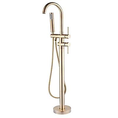 Senlesen Floor Mounted Tub Filler Faucet with Handshower Brushed Gold