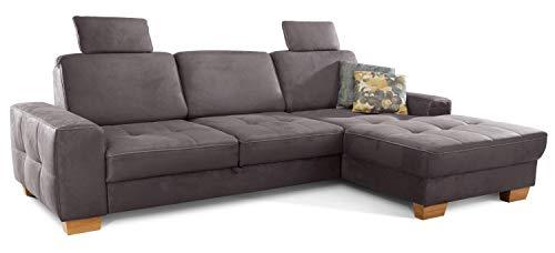 Cavadore Ecksofa Puccino mit Federkern, verstellbarer Rückenlehne und 2 Kopfstützen / Couch in L-Form im Landhausstil / 281 x 86 x 178 cm / Mikrofaser grau