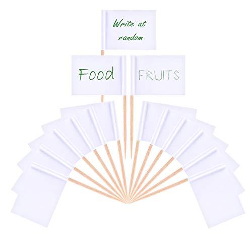 OOTSR 200 stücke Weiße Flagge Zahnstocher, Leere Zahnstocher Fahnen für Cupcake, Cocktail-Sticks, Sandwich, Obst, Snacks, Lebensmittel Label Party Dekorationen