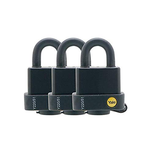Yale Y220/51/118/3 Weatherproof Open Shackle Padlock, 51mm, pack of 3, suitable for outdoor use