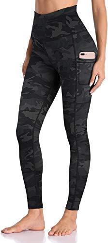 Enmain Pantalones de yoga gris oscuro Leggings de camuflaje para mujer, cintura alta con bolsillo, gimnasio, funcionamiento