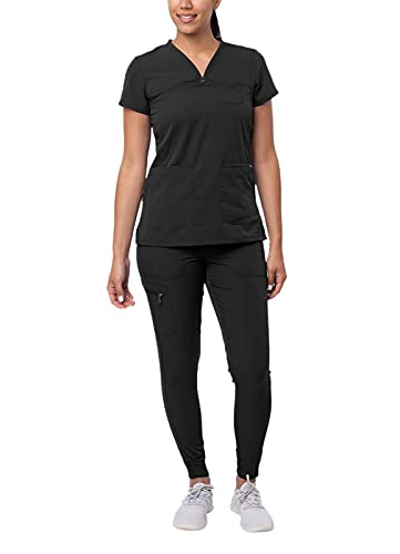 Adar Pro Movement Booster Scrub Set for Women - Sweetheart V-Neck Scrub Top & Yoga Jogger Scrub Pants - P9400 - Black - M