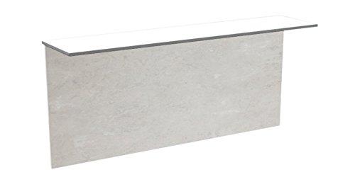 CANCIO Table Click pliable et rabattable au mur avec plateau petite étagère en laminé stratifié blanc grande table en laminé épaisseur 16 mm 110 x 25 béton