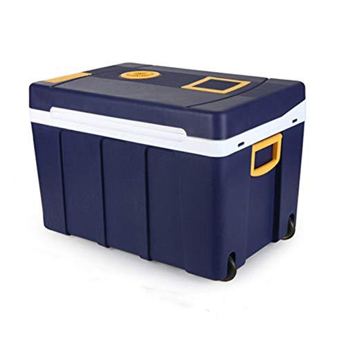 Car Refrigerator Compacte Personische koelkast met draaggreep en dubbele rolwagen en draagbare mini-koelkast met verwarmings- en koelbox voor woonwoningen, campers, woningen en vissen