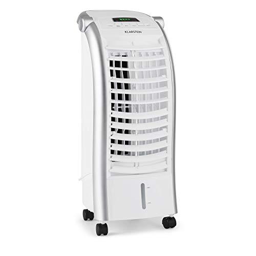 Klarstein Maxfresh - Raffrescatore Evaporativo, 3in1: Umidificatore, Ventilatore, Rinfrescatore, 444m³/h, Serbatoio 6L, 55W, 3 Modalità, Timer 15 h, Telecomando, 2x Siberini, Bianco