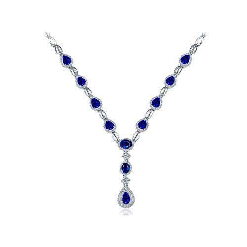Dreamdge 18K White Gold Necklace Pear Womens Necklace Chain, 4.5ct Blue Sapphire White Diamond Pendant Necklace