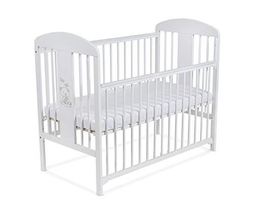 Lit pour Bébé à barreaux TOMI 20 -'Ourson' Barrière coulissante avec MATELAS, Blanc.