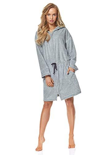 L & L - 9118 badjas met ritssluiting dames zachte, warme en lange badjas Volledige lichaamsweergave, ritssluiting, huismantel met capuchon voor dames.