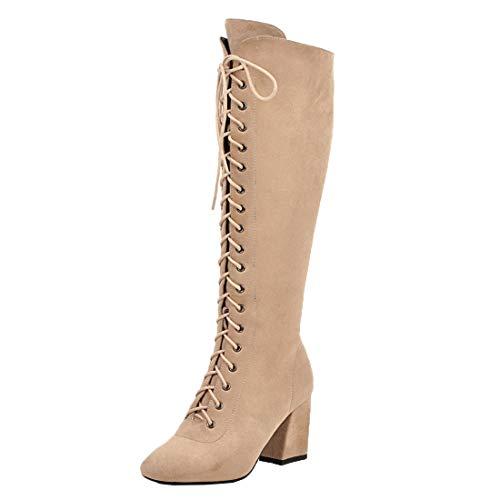 MISSUIT Damen Schnür High Heels Stiefel Blockabsatz Kniehohe Stiefel Reißverschluss Hohe High Knee Stiefel Winterboots(Beige,37)