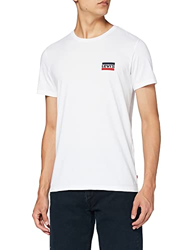 Levi's 2Pk Crewneck Graphic T-Shirt, 2 Pack SW White/Mineral Black, M Uomo