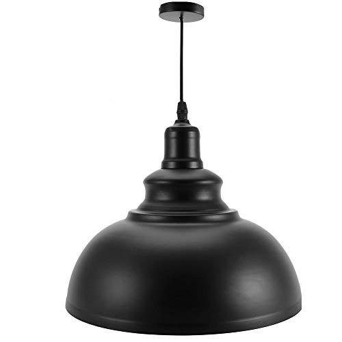 Zerone. Lámpara de Techo Colgante de Metal de Estilo Industrial para Sala de Estar, Oficina, Cocina, Cafetería, Comedor(Negro)