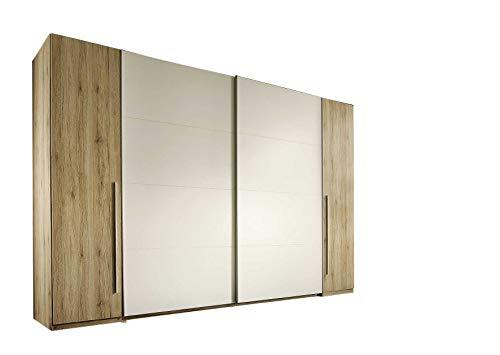 AVANTI TRENDSTORE - Match - Armadio spazioso con 2 Ante scorrevoli e 2 Ante a Battente. Disponibile in 3 Diversi Modelli. Dimensioni: Lap 316x226x61 cm (Marrone-Bianco)