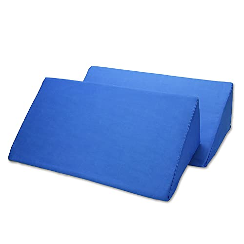 三角マット 体制キープ 介護 サポート 支えるクッション マットレス 枕 ストレッチ (2個 ブルー)