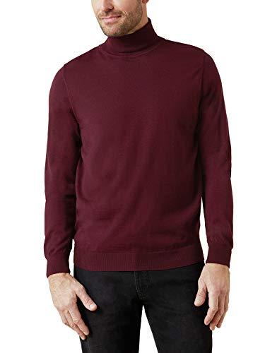 Walbusch Herren Merino Mix Rollkragen Pullover einfarbig Bordeaux 50