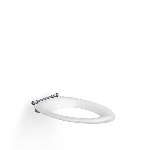 Pressalit R24000 Dania WC-Sitz 10 cm Erhöhung, Edelstahl Toiletten-Sitz mit Spritzblende für Behinderte, Senioren (Belastbarkeit 150 kg)