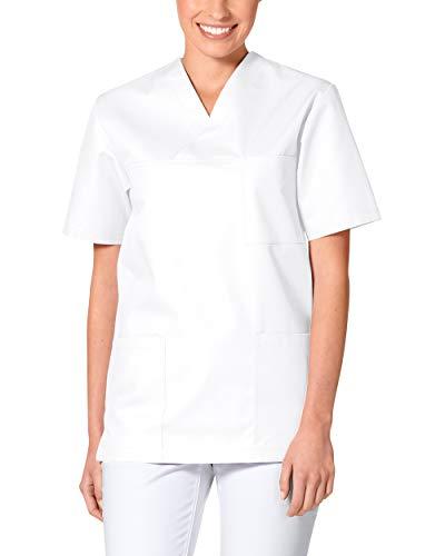 CLINIC DRESS Schlupfkasack - Unisex Kasack Damen und Herren bunt für Pflege und Altenpflege, Kurzarm und Brusttasche, 95 Grad Wäsche weiß L
