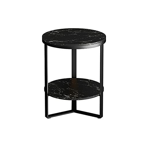 Mesa de café de 2 niveles, mesa auxiliar redonda de mármol, café, balcón, dormitorio, mesita de noche, mesa auxiliar de almacenamiento (tamaño: 50 x 50 x 55 cm, color: D)