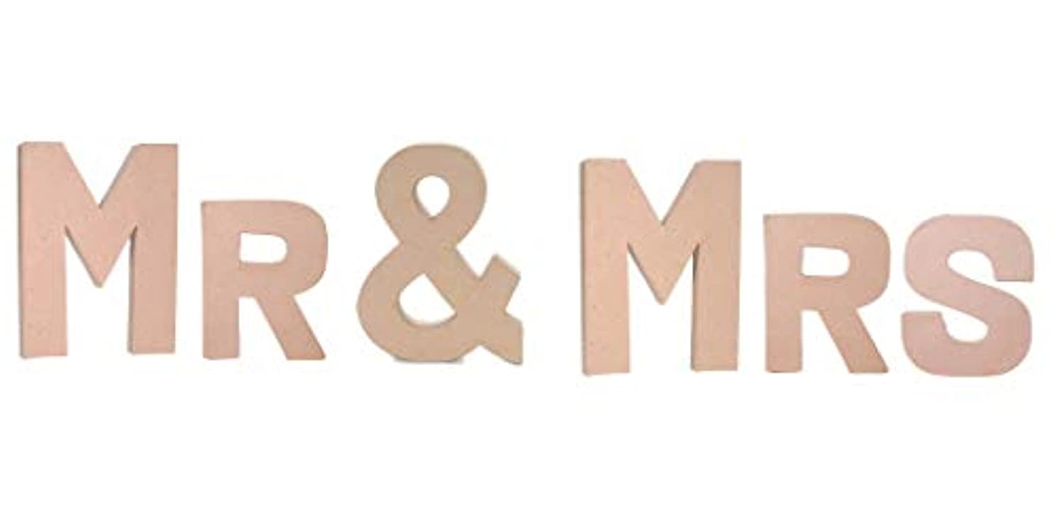 DIY Craft - Wall Sign or Shelf Table Decor Project - Unfinished Paper Mache Letters MR & MRS - 6 Piece Bundle - Wedding Wall Shelf Decor