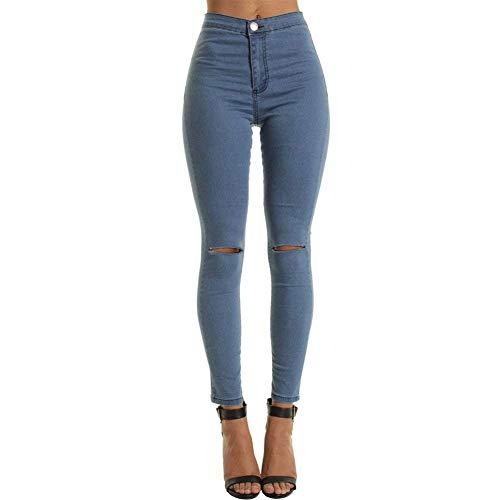 HaiDean Damen High Waist Skinny Fit Ripped Loch Jungen Chic Jeans Aufgerissene Hose Einreihig Mit Taschen Einfarbig Bleistifthose Pants (Color : Marineblau, Size : 2XL)