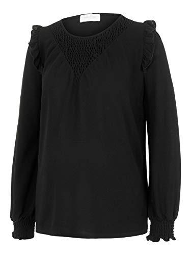 MAMALICIOUS MLENISE L/S Jersey Top A. Camiseta de Manga Larga, Negro, L para Mujer