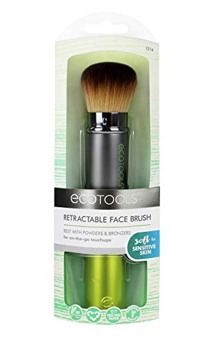 EcoTools Travel Kabuki Makeup Brush for Foundation, Blush, Bronzer, and Powder, Retractable